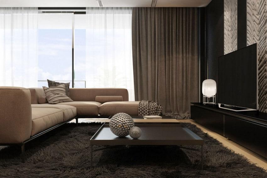 Sala de estar donde abunda color negro