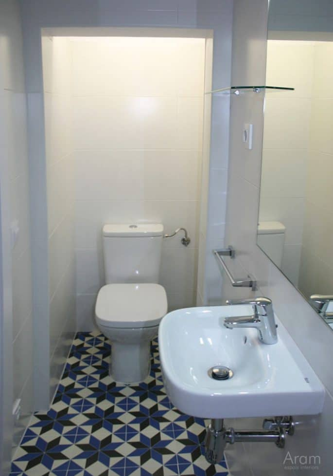 Vista baño, zona inodoro