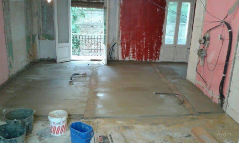 Obra nivelación suelos dormitorio