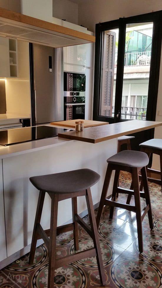 Detalle pavimento hiadraulico cocina abierta Gracia