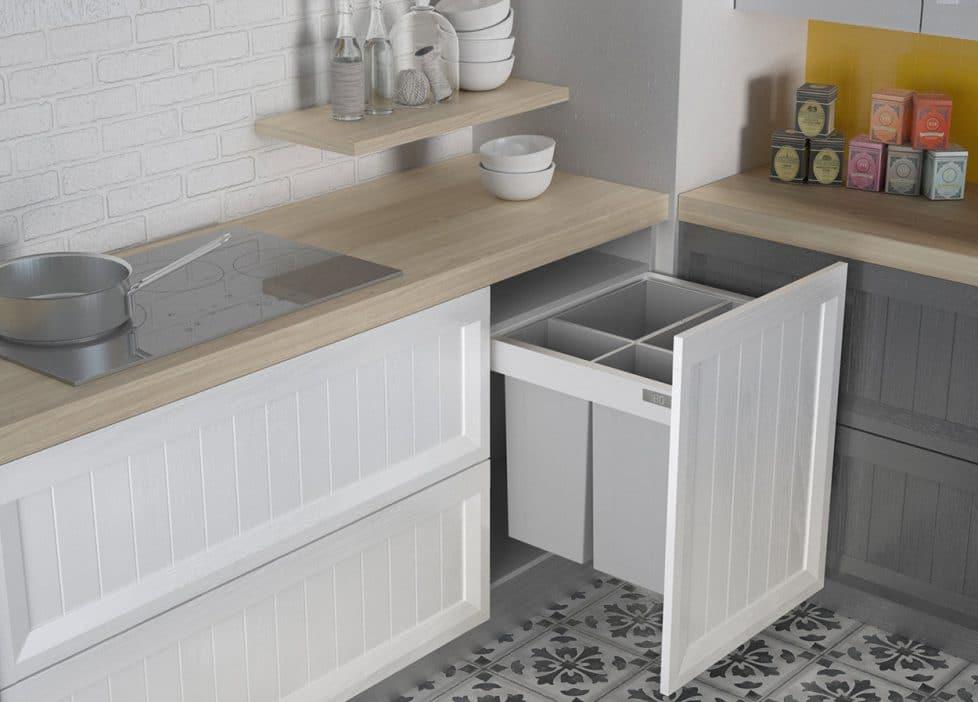 Accesorios interiores modernos en una cocina de estilo clásico