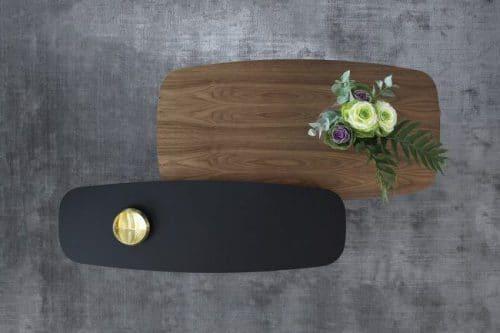Mesa Solapa acabados negro y nogal