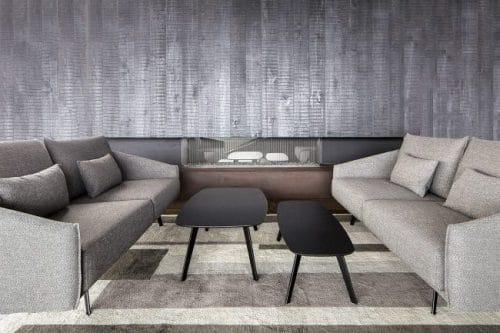 Mesa stua Solapa con sofa Costura