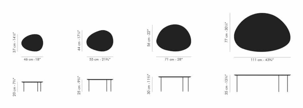 Dimensions-taules niu Eclipse Stua