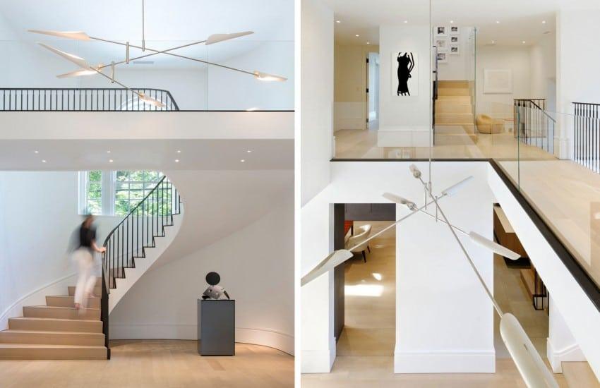 Escalera al piso superior en las mismas tonalidades
