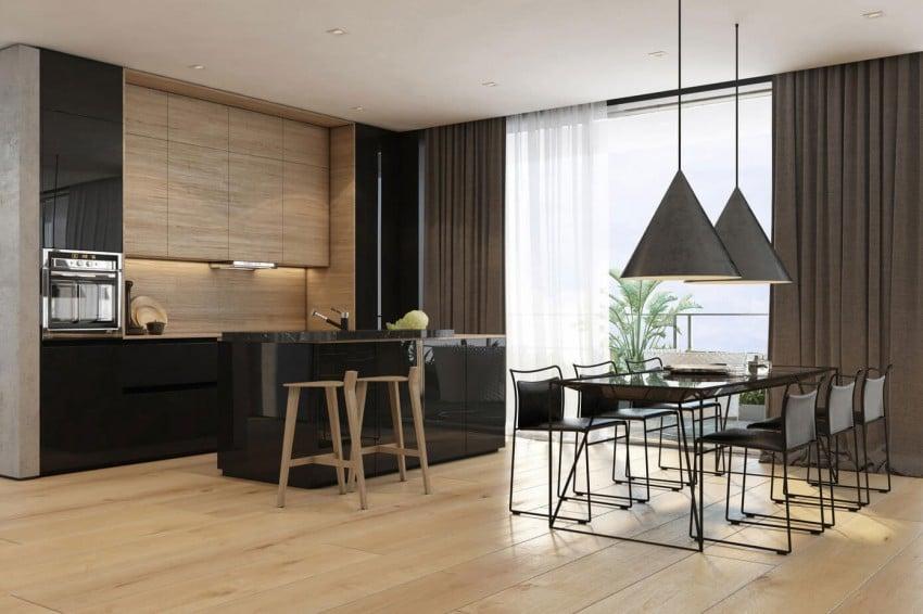 Vista cocina y mesa comedor color negro