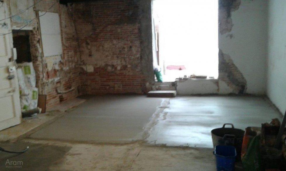 Obras nivelación suelos salón comedor